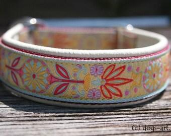 "Dog Collar ""Pinwheel Zinnia"" by dogs-art, limited slip collar, leather dog collar, dog collar leather, martingale collar, floral dog collar"