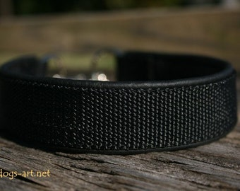 Handmade Martingale Chain Leather Dog Collar by dogs-art in black/black