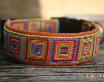 """Dog Collar """"Crazy"""" by dogs-art, orange dog collar, colorful dog collar, leather dog collar, adjustable collar, hundehalsband, dog collars"""