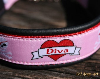 "Leather Dog Collar ""Diva"" by dogs-art, martingale collar, chain dog collar, pink dog collar, diva, girl dog collar, leather dog collar"
