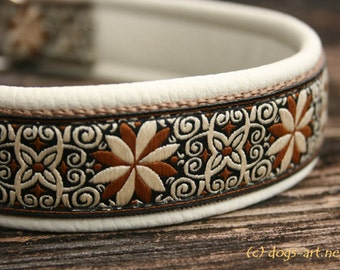 "Dog Collar ""Pinwheel Zinnia"" by dogs-art in creme/camel/creme-brown, martingale collar, leather dog collar, dog collars, collar, dog"