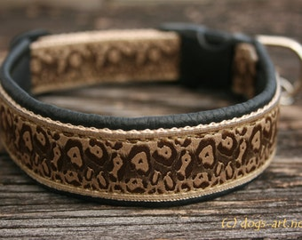"Dog Collar ""Cheetah"" by dogs-art, leather dog collar, dog collar leather, animal print, black leather collar, boy dog collar, cheetah"