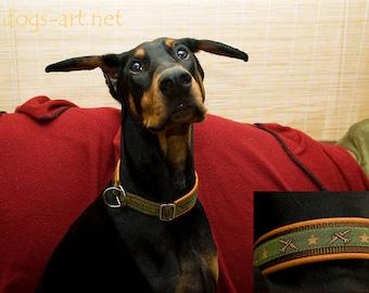 "Dog Collar ""Airplane"" by dogs-art, orange dog collar, leather dog collar, martingale collar, airplane, aircraft, limited slip collar, dog"