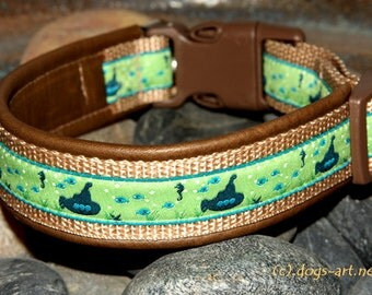 "Dog collar ""Submarine"" by dogs-art, nautical dog collar, submarine dog collar, dog collar leather, large dog collar, leather dog collar"