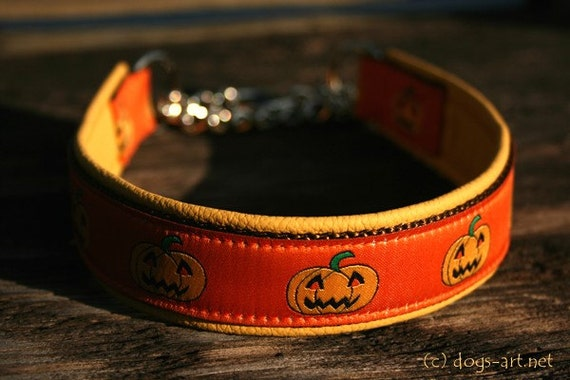 Handmade Martingale Chain Leather Dog Collar HALLOWEEN by dogs-art in yellow/brown/orange