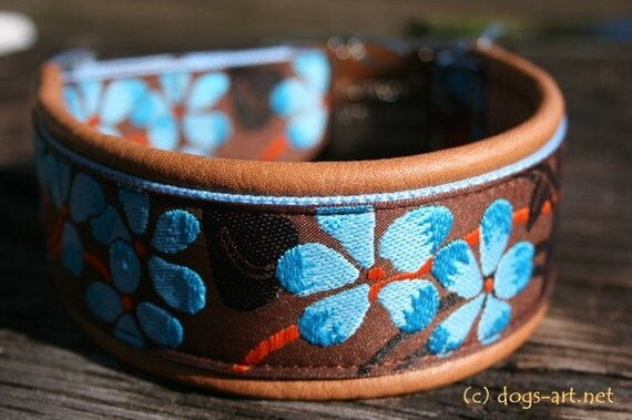 BIG-dog by dogs-art Flower Easy Release Alu Buckle Collar brown/light blue/brown