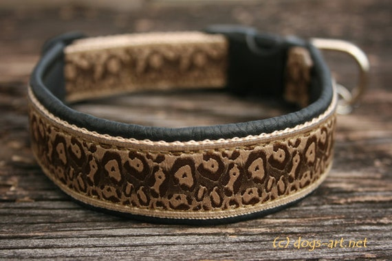 """Dog Collar """"Cheetah"""" by dogs-art, leather dog collar, dog collar leather, animal print, black leather collar, dog collar, collars, cheetah"""