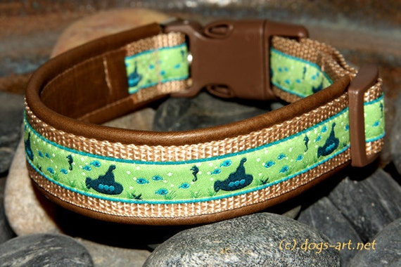 SALE - Handmade Easy Release Buckle Leather Dog Collar SUBMARINE by dogs-art in dark brown/sand/green