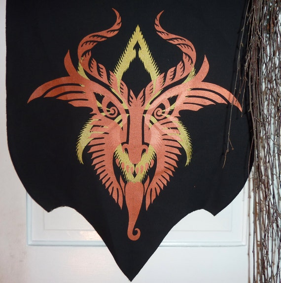 Holidaemon Krampus Baphomet Multilayer Copper and Gold on Black Canvas Banner