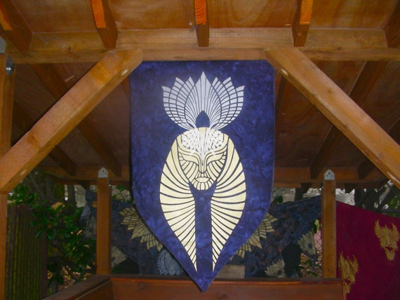 Lotus Deity Banner of Nefer Tem and Isis in Silver and Gold Print on Indigo Bali Cotton