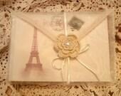 Vintage Inspired Organza Envelope/ 4 Eiffel Tower Postcards