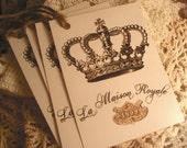 Set Of 4 FRENCH  La Maison Royale/Crown/Glittered Gift Tags/Jute Twine