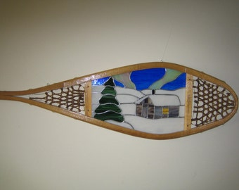 Cabin Stained Glass Snowshoe