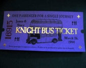 12 Witch or Wizard Knight Bus Ticket Wedding Favors or Save the Date Cards Personalized
