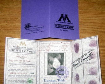 Department of Magic Identity (I.D.) Card Personalized for a Witch or Wizard