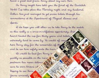 Wizard World Cup Invitation Letter covered in stamps
