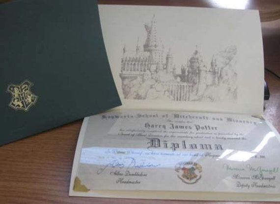 Unavailable listing on etsy for Hogwarts diploma