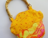 RESERVED for annaemiller - Yummy Yellow Tie Dyed Cupcake Purse / Tote