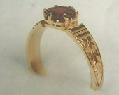 Antique Ring Setting 14K Mounting Victorian Yellow Gold Handmade Patterned Band Ring for 6 mm Diamond