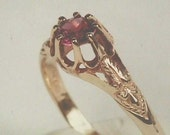 Antique Victorian 14K Yellow Gold Ring Setting / Mounting for 5 mm Round Gemstone, .50 Cts. Diamond Solitaire Wedding Band