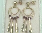 14K Ruby Earrings, Handmade 14K Yellow Gold, Natural Rubies