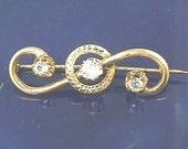 Victorian 14K Yellow Gold & 3 Stone French Paste Brilliant White Stone Brooch - Circa 1870 - Antique 19th Century