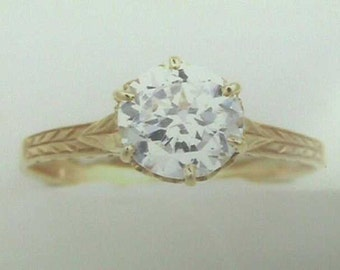 Antique 18K Art Nouveau to Edwardian Yellow Gold 1.25 Carats 7mm Engagement Ring set with Round Brilliant Cut Manmade Diamond