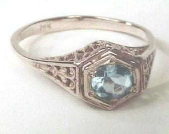 Art Nouveau to Deco 14K White Gold Filigree Basket Setting Engagement Wedding Ring Mounting for .50 Ct  5mm Round Diamond