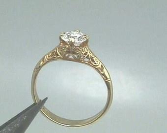 18K Art Nouveau Edwardian Filigree Engagement Ring, Yellow Gold set with 5.5 mm (.63  Carats) Round Brilliant