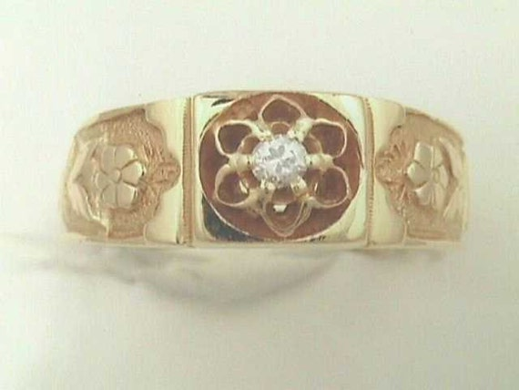 Reserved - Victorian 14K Rose Yellow Gold Flower / Floral Band Wedding Ring with Round Brilliant Diamond... Antique 19th Century Design