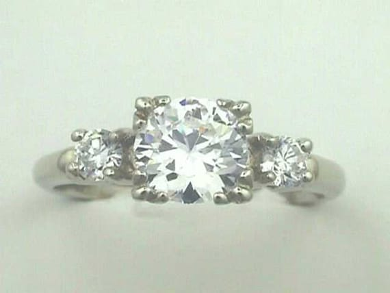14k deco engagement ring white gold antique by jewelry1910