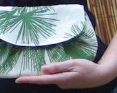 Clutch bag - Green and cream bamboo print