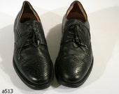 Black Mens BROGUES . Vintage Perforated Leather Lloyd Oxford Hipster Indie Urban Suit Up Smart Shoes . USA 8.5 -  9 Eur 42 - 43