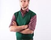 Vintage 70s Christmas Vest / Green Wool Mens Vest / Small
