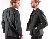 70s Mens Military Wool Blazer / Steampunk Jacket Shoulder Patches / S