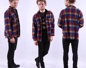 Vintage 70s Mens Shirt / Plaid Lumberjack Jacket / Medium