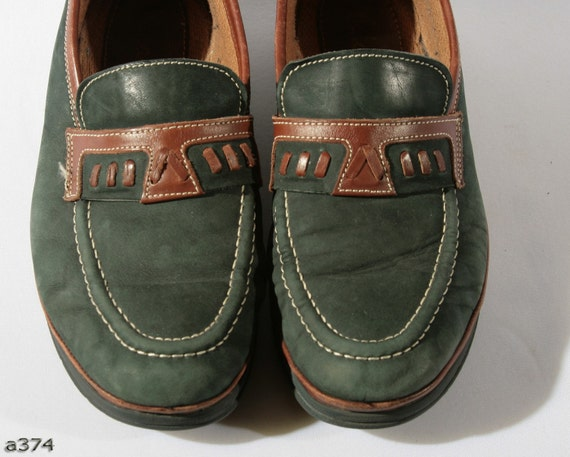 Mens BOAT Shoes . Clarks Loafers Green Suede Moccasins Leather Footwear Unisex Urban Casual Hipster Gift . Size US 8 EUR 41