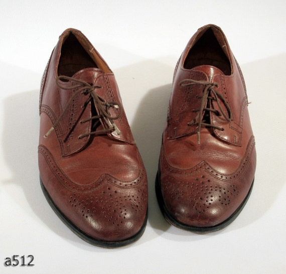 Vintage BROWN leather perforated BROGUES for men, size 8.5 men, 10 women, EUR 42