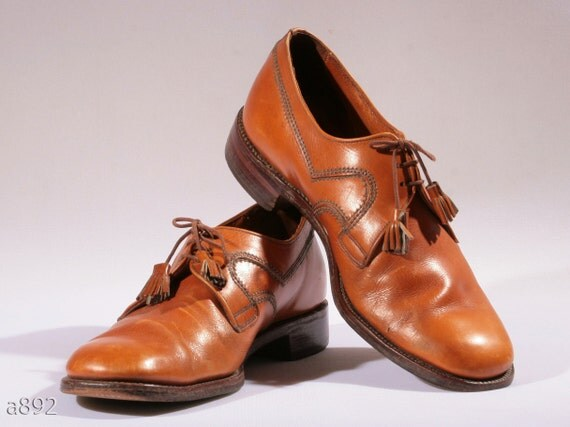 Vintage 70s Whiskey brown Tassel oxford Brogues,size us men 8 - 8.5, eur  41.5 - 42
