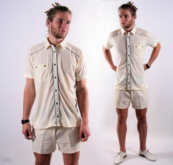 Vintage White Mens Shirt / Sophisticated Vacation Deadstock Shirt / Medium