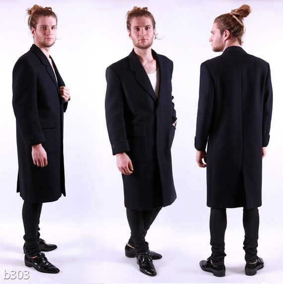 Mens 60s Winter Coat / Black Wool Coat / Medium to Large
