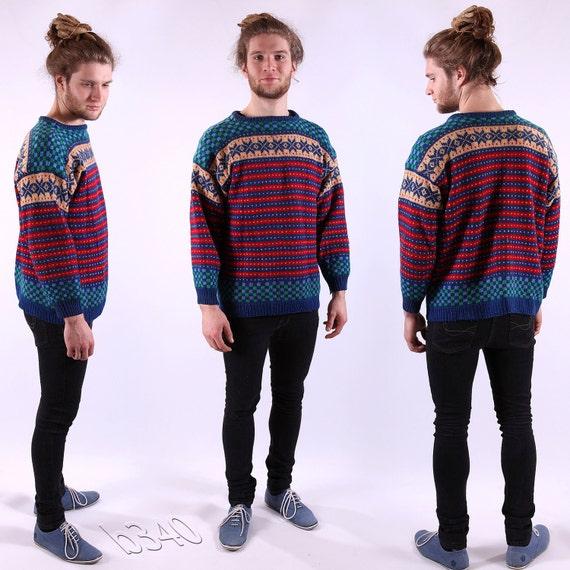 Vintage Mens Wool Sweater / Norway Folk Jumper / M to L
