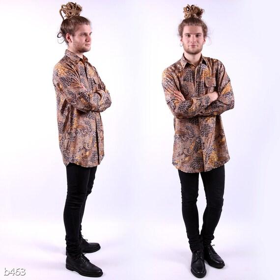 Vintage Silk Mens Shirt / Brown Floral Shirt for Men / M