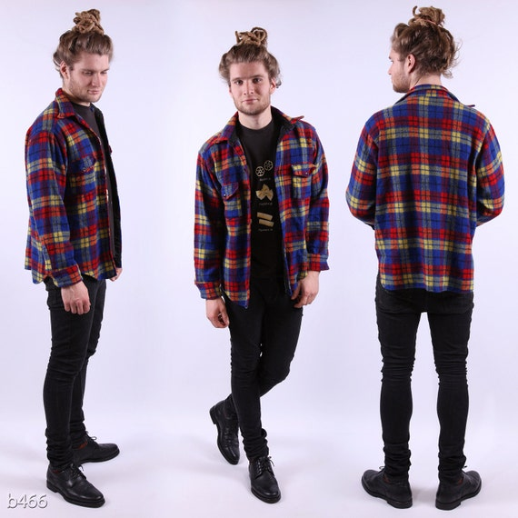 Vintage 70s Mens Shirt / Plaid Lumberjack Jacket / Medium