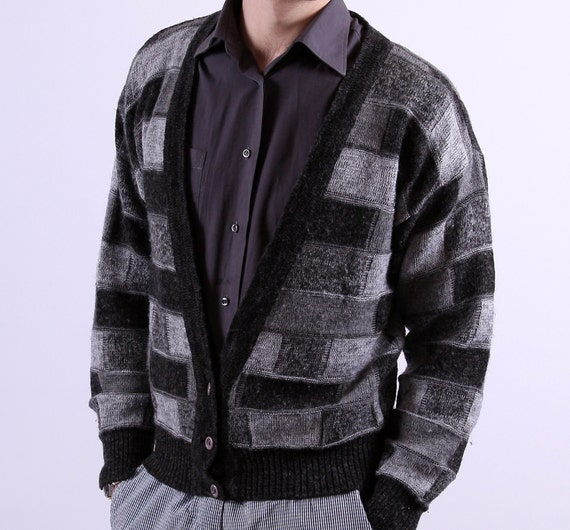 1980s Gray Mens Cardigan / Black Patchwork Style / Small
