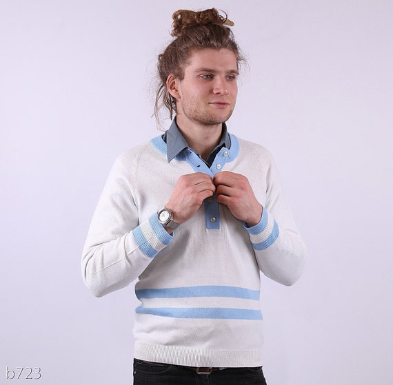 Mens NAUTICAL Jumper . Vintage 70s White and Blue Classy Sweater Retro Sailor Pullover Boyfriend Gift Urban Casual . Small to Medium