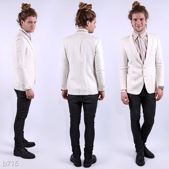 Reserved.... Vintage Mens Linen Jacket / off White Summer Blazer for Men / S