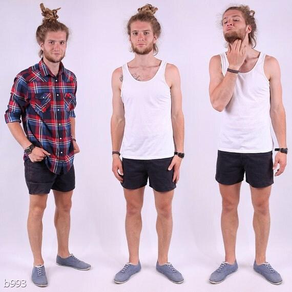 Vintage Mens Denim Shorts / High Waist Black Short for Men /