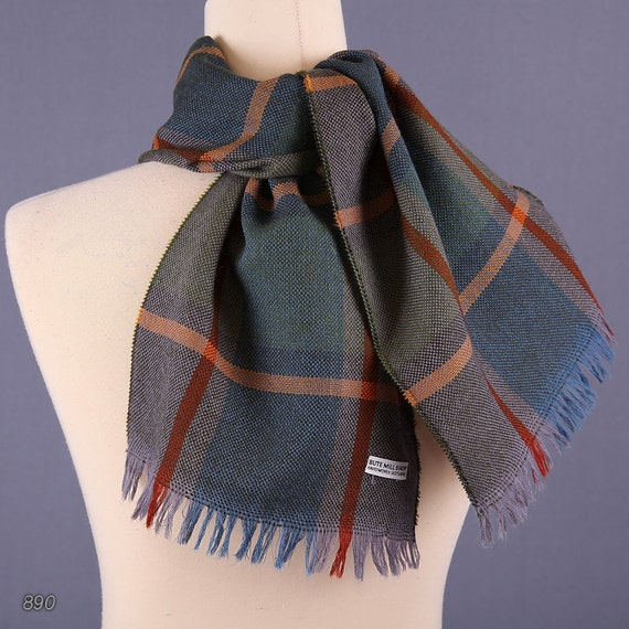 80s handwoven wool sherlock scarf for plaid by