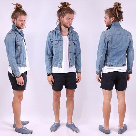 Vintage Mens Levis Jeans Jacket / Light Wash Denim Jacket / S